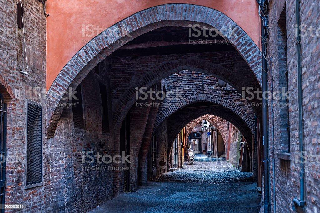 Via delle Volte of Ferrara. Emilia-Romagna. Italy. stock photo