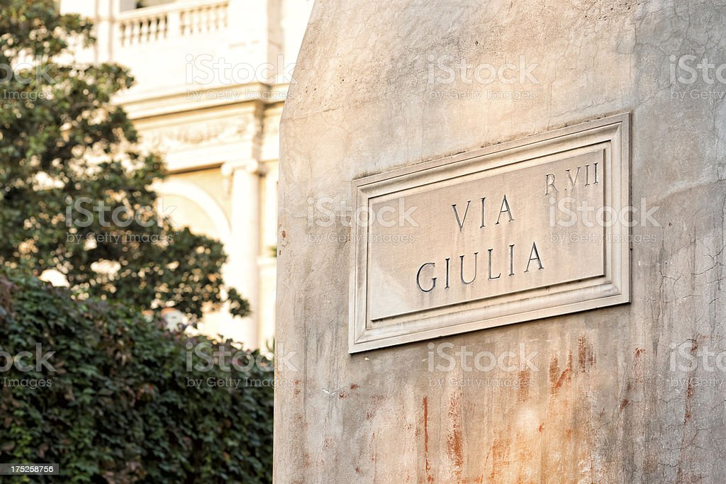 Via Giulia street name sign, Rome Italy royalty-free stock photo