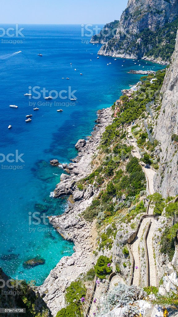 Via Krupp, Capri Island, Italy stock photo