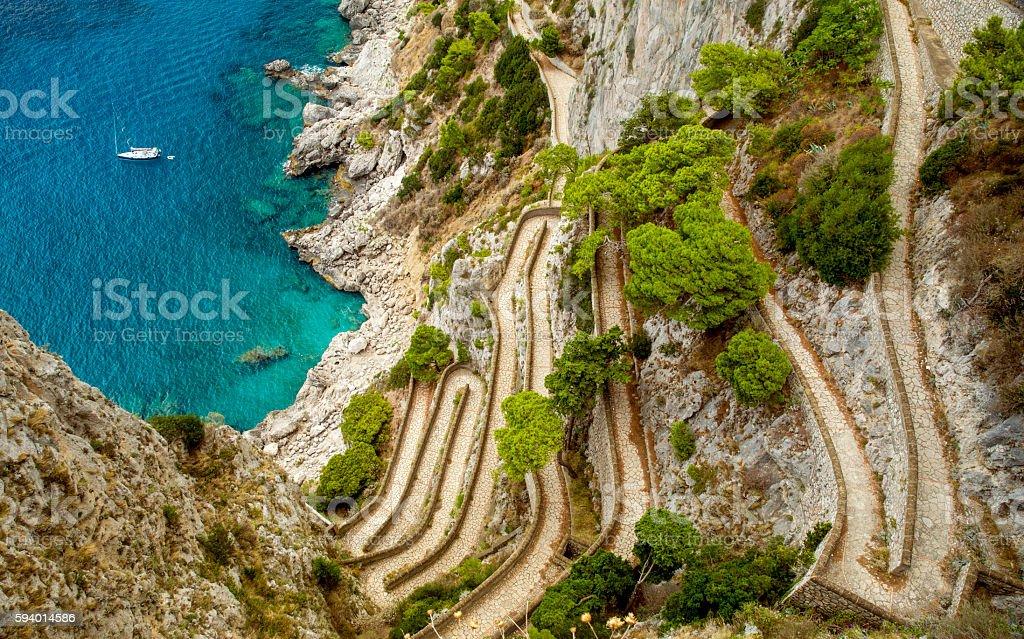 Via Krupp on Capri island in Italy stock photo