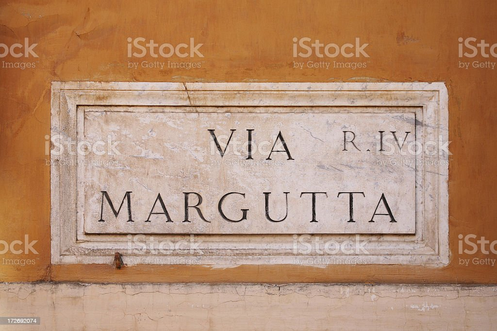 'Via Margutta street name sign, Rome Italy' stock photo