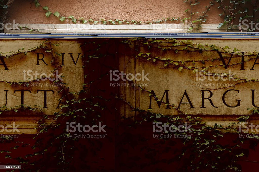 Via Margutta street name sign, Rome Italy stock photo
