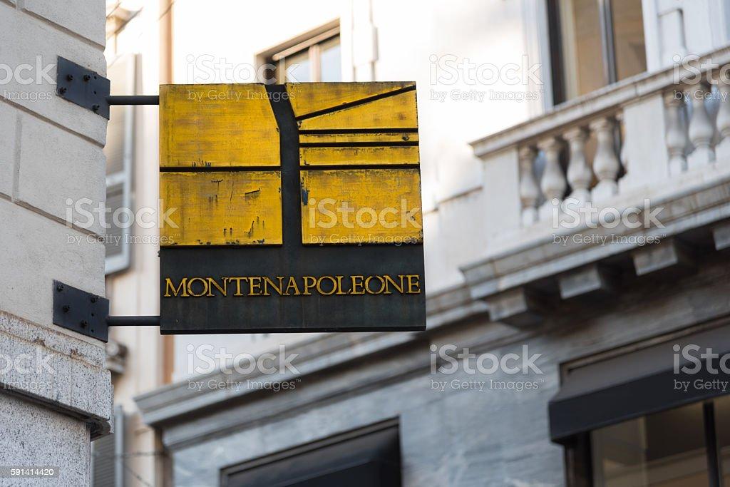 Via Monte Napoleone Sign stock photo