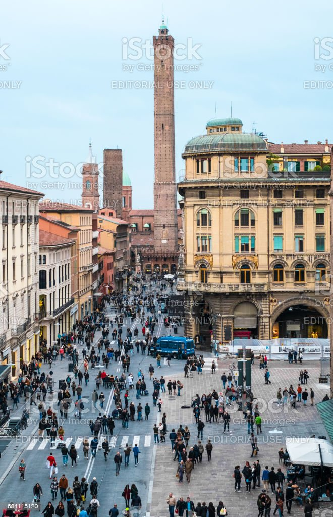 Via RIzzoli, main street of Bologna city stock photo