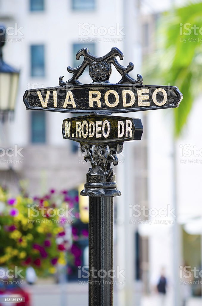 Via Rodeo sign in Beverly Hills, CA stock photo