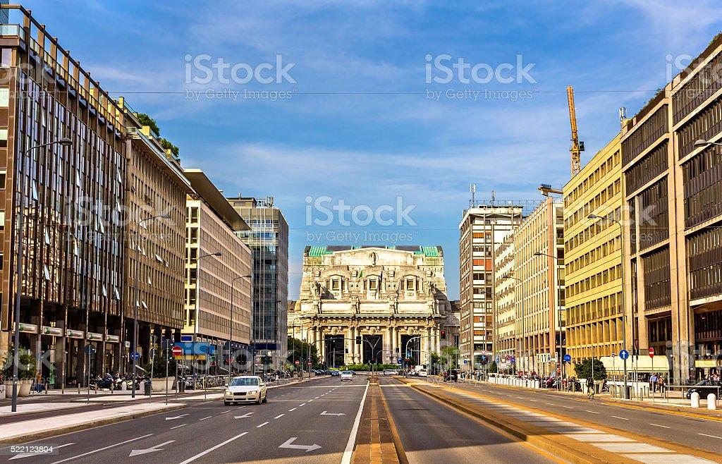 Via Vittor Pisani leading to Milano Centrale stock photo