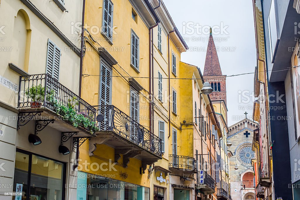 Via XX Settembre and Cathedral of Piacenza. Emilia-Romagna. Italy. stock photo