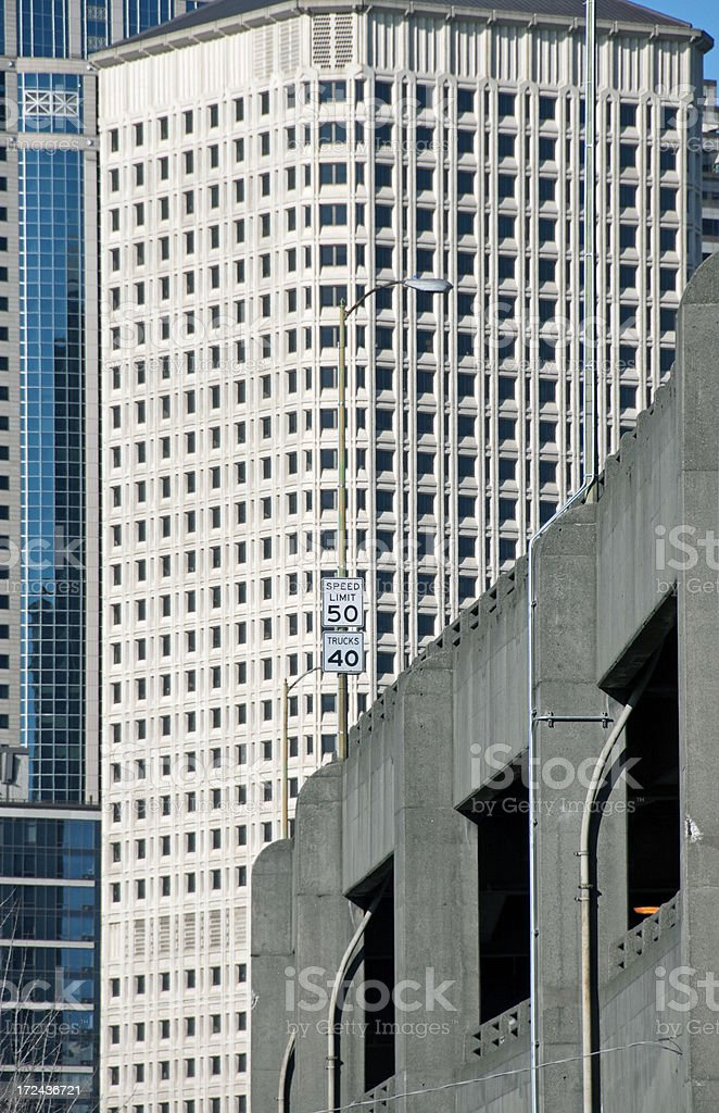 Viaduct along waterfront and office buildings in Seattle royalty-free stock photo
