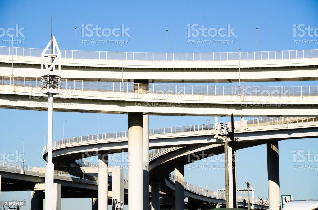 Viaduct in Daikoku Interchange on Bayshore Route of Metropolitan Expressway, Kanagawa, Japan stock photo