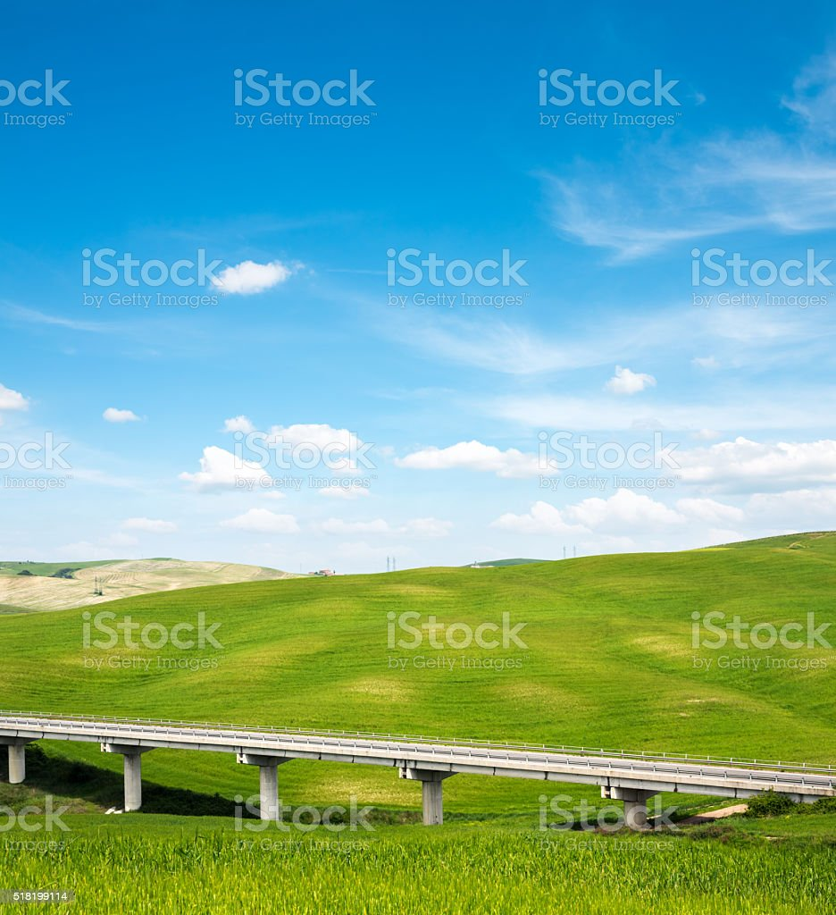 Viaduct in Val D'orcia stock photo