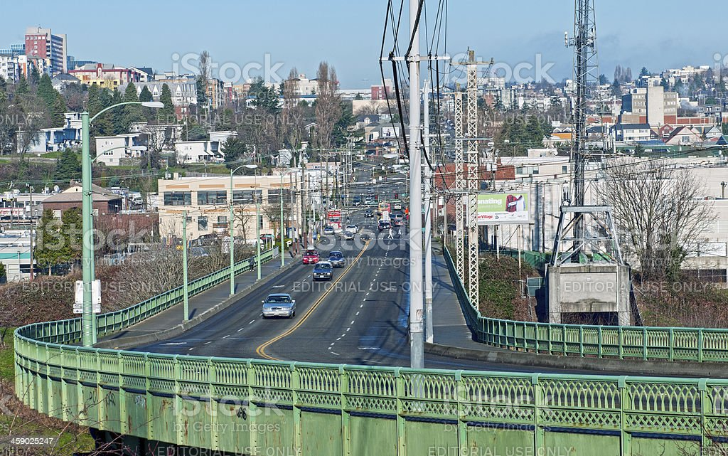 Viaduct leading to south Seattle in Washington state royalty-free stock photo