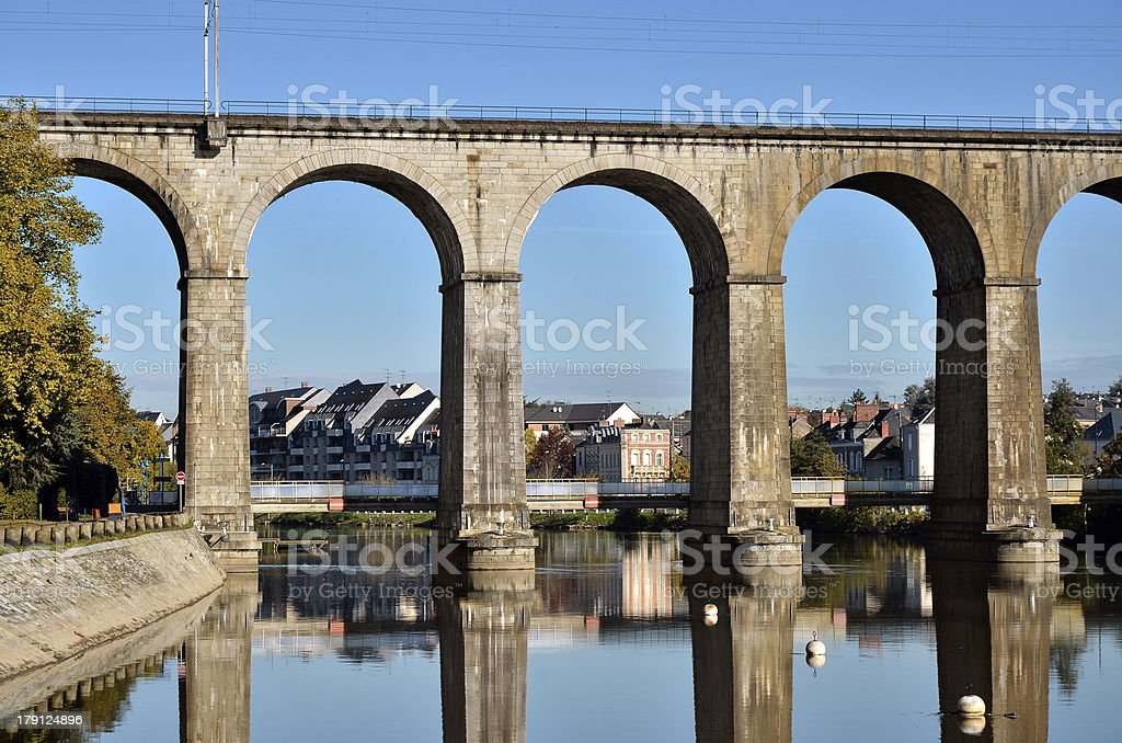 Viaduct on river Mayenne at Laval in France stock photo