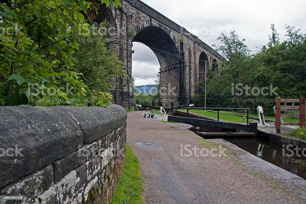 Viaduct over the Huddersfield Narrow Canal at Uppermill stock photo