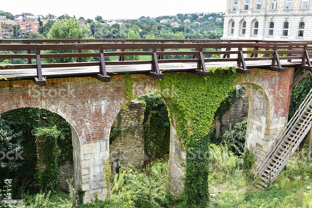 Viadukt of the Royal Palace of Budapest stock photo