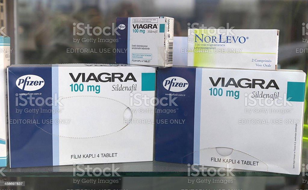 Viagra tablets in window display stock photo