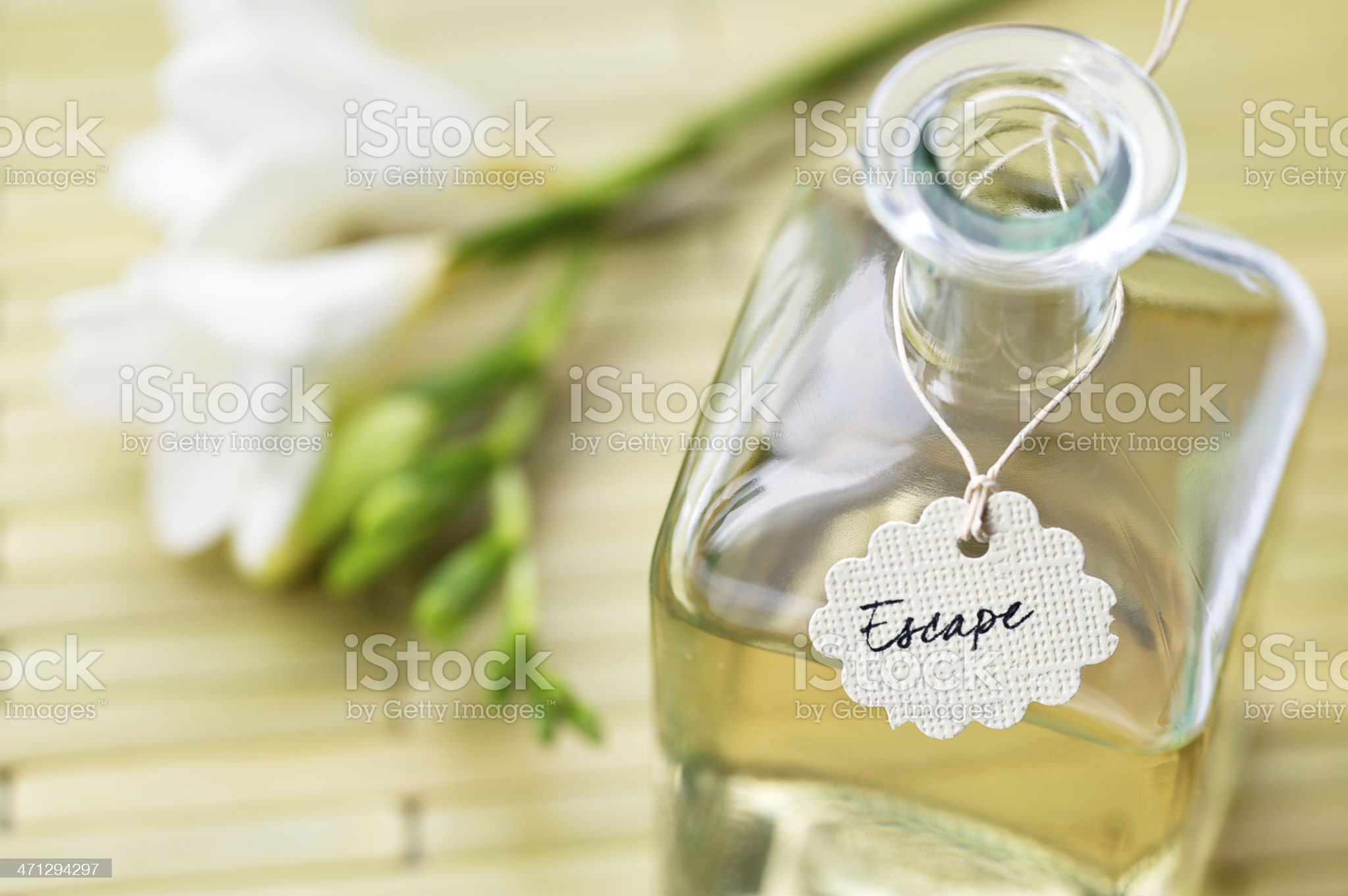 A vial of liquid with label stating escape royalty-free stock photo