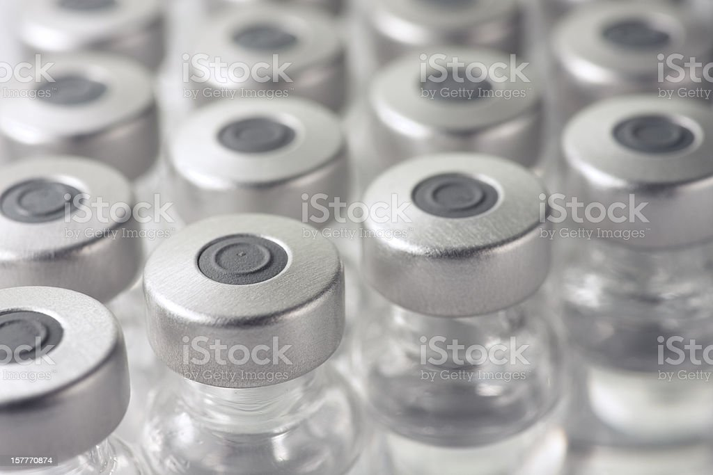 Vials of clear medicine or vaccine stock photo