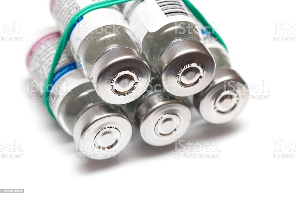 Vials with a medicine on a white stock photo
