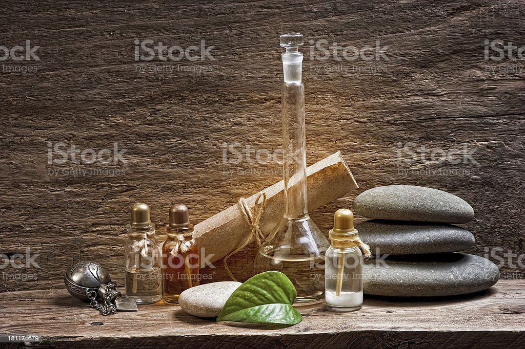 Vials with essential oils royalty-free stock photo