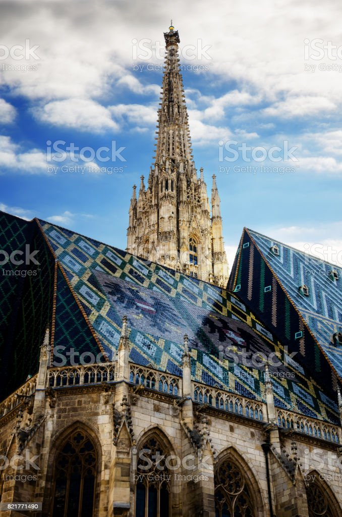 vianne, exterior view of Stephansdom cathedral stock photo