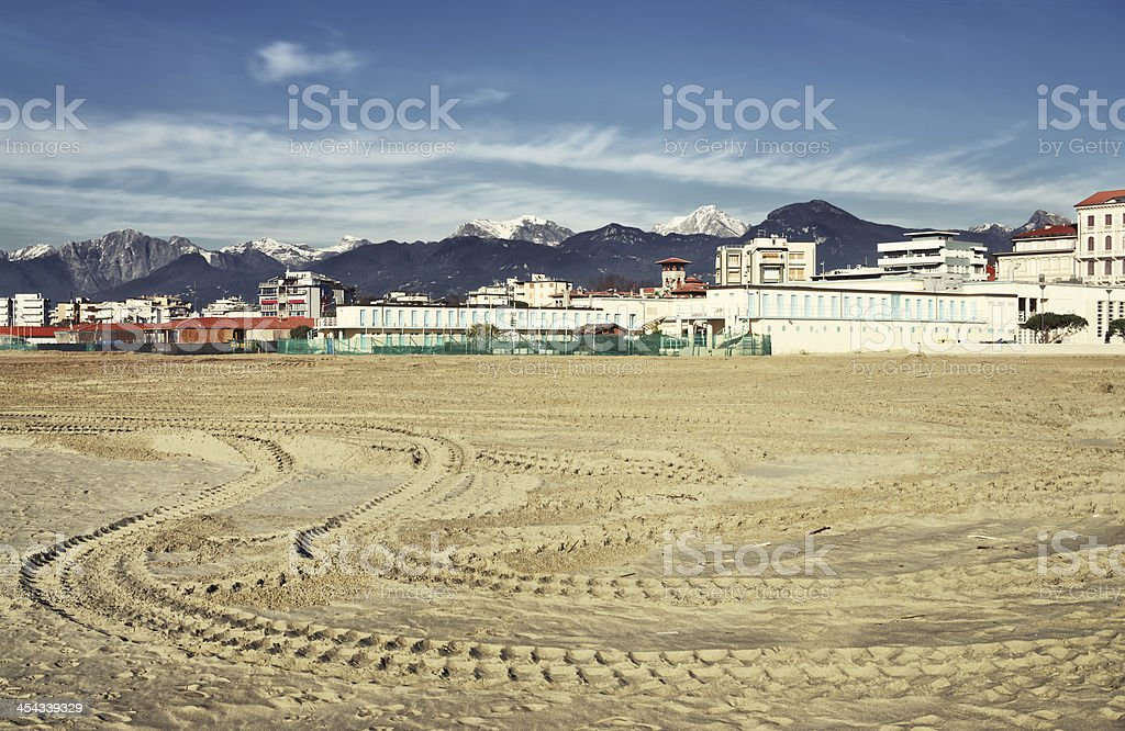 Viareggio in low season as seen from the beach stock photo
