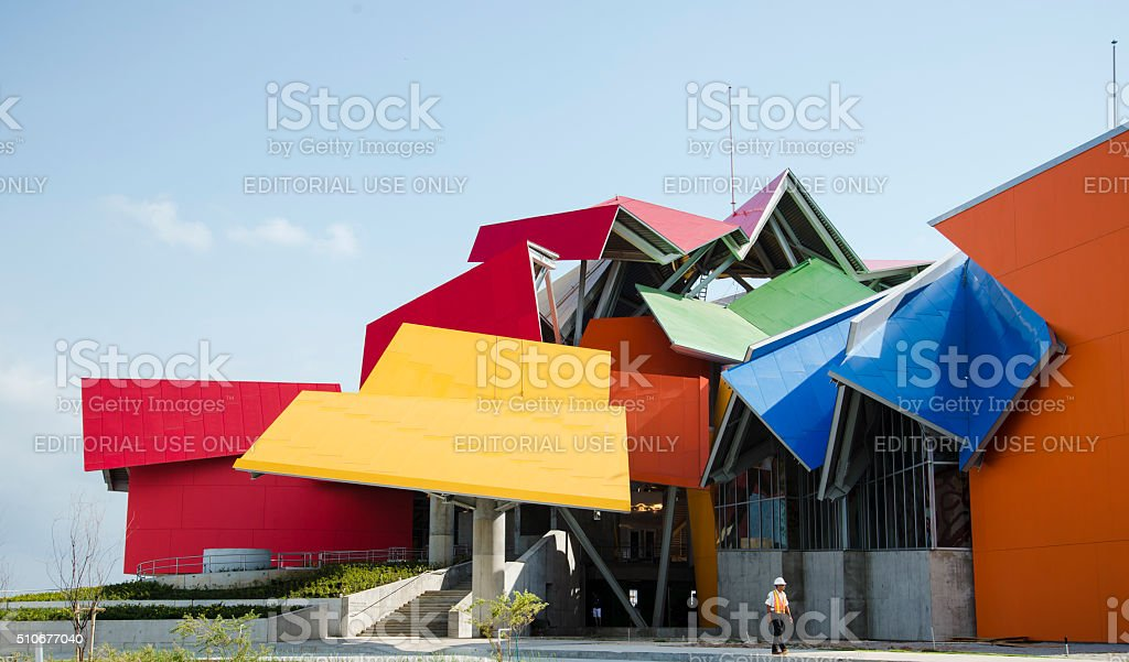 Vibrant And Multicolored Biomuseo In Panama City, Panama stock photo