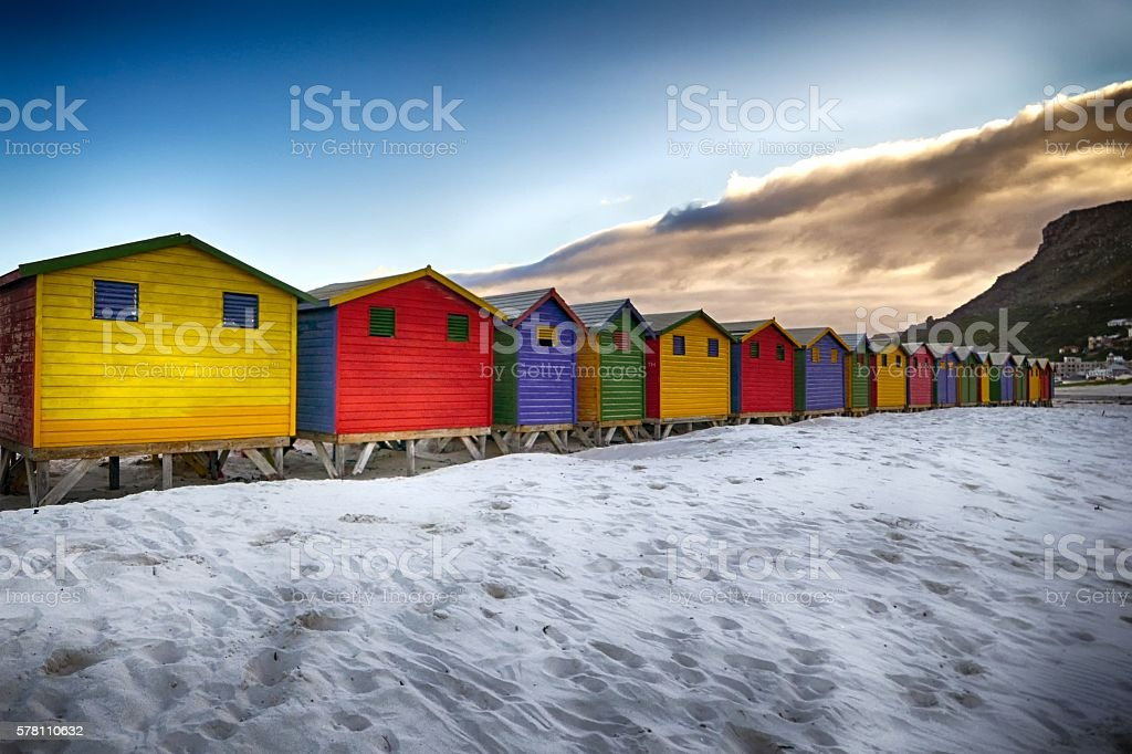 Vibrant Beach Cottages stock photo