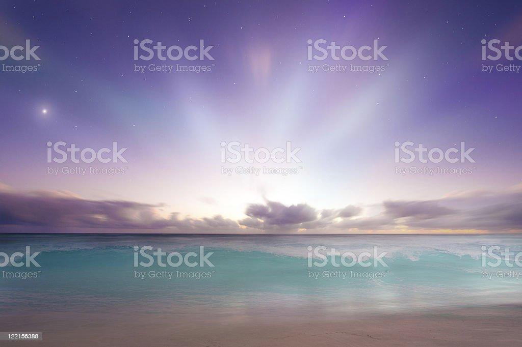Vibrant beach sunrise royalty-free stock photo