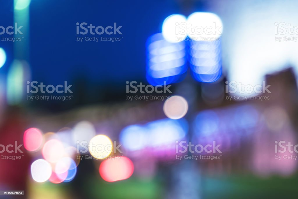 vibrant blurred city lights of berlin stock photo