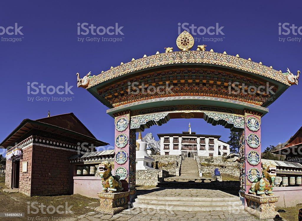 Vibrant buddhist mountain monastery Tengboche gompa gate Khumbu Himalayas Nepal stock photo