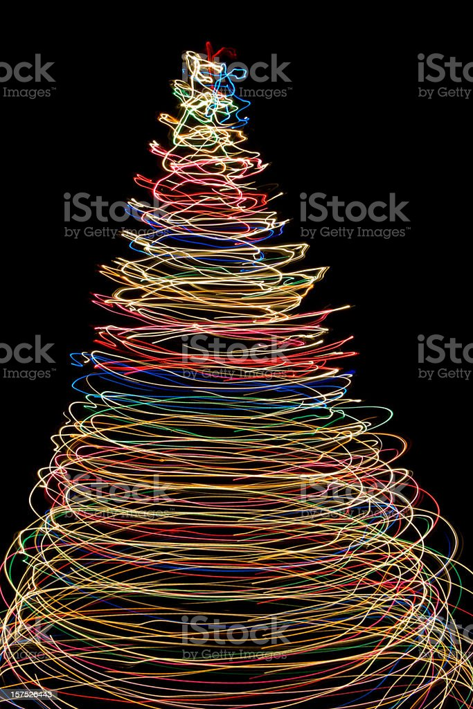 Vibrant Christmas Lights Form a Tree of Circles royalty-free stock photo