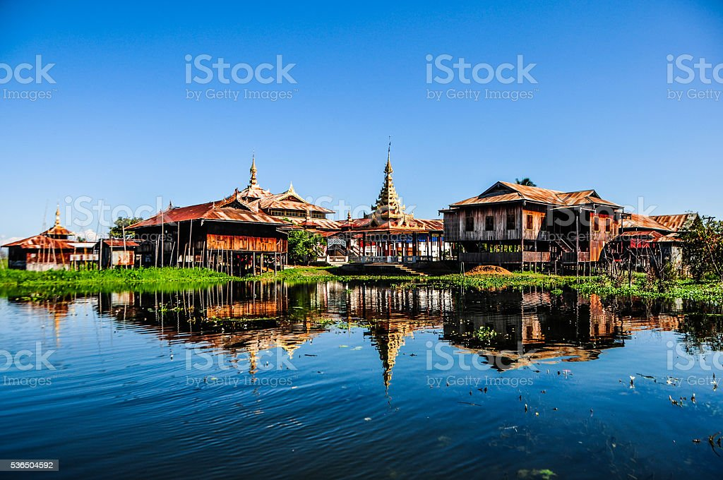 vibrant color of Inle Lake stock photo