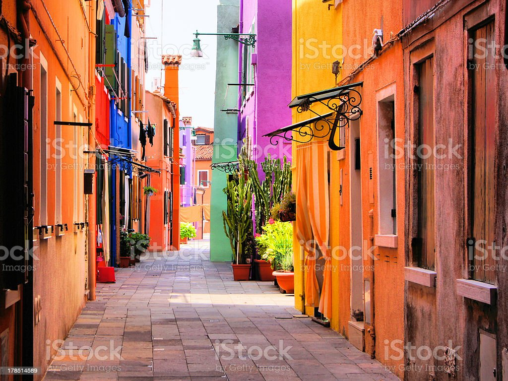 Vibrant colored street in Italy royalty-free stock photo