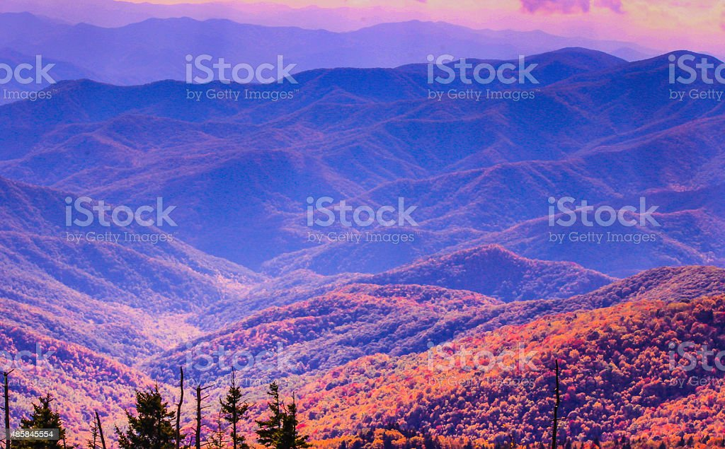 Vibrant colors of autumn in Smokies, Tennessee stock photo