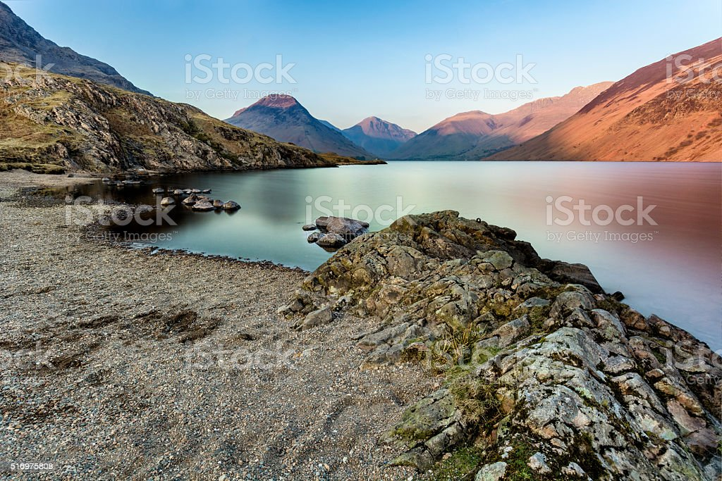 Vibrant Colors On Mountains During Sunset At Wast Water Lake. stock photo