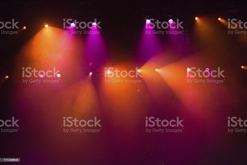 Vibrant concert lights from a rock show stock photo