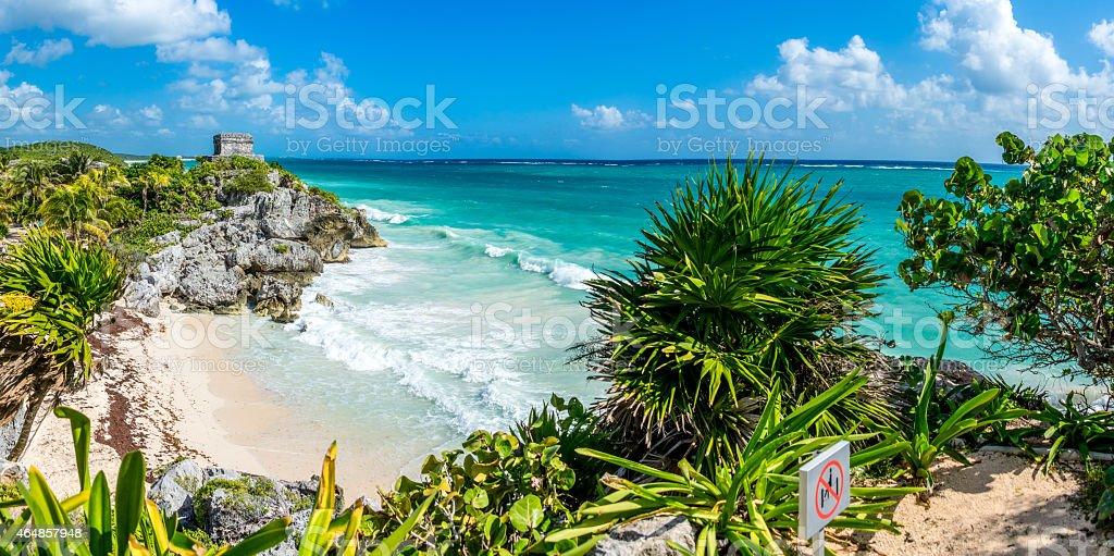 Vibrant daytime panorama of Tulum Caribbean and Mayan Ruins stock photo