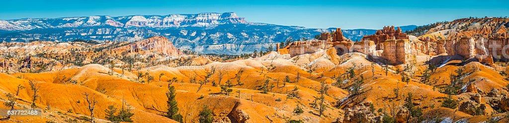 Vibrant desert landscape panorama Bryce Canyon National Park Utah USA stock photo