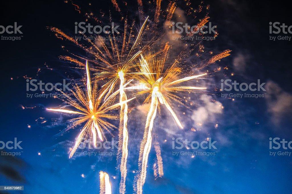 Vibrant fireworks display in the sky stock photo