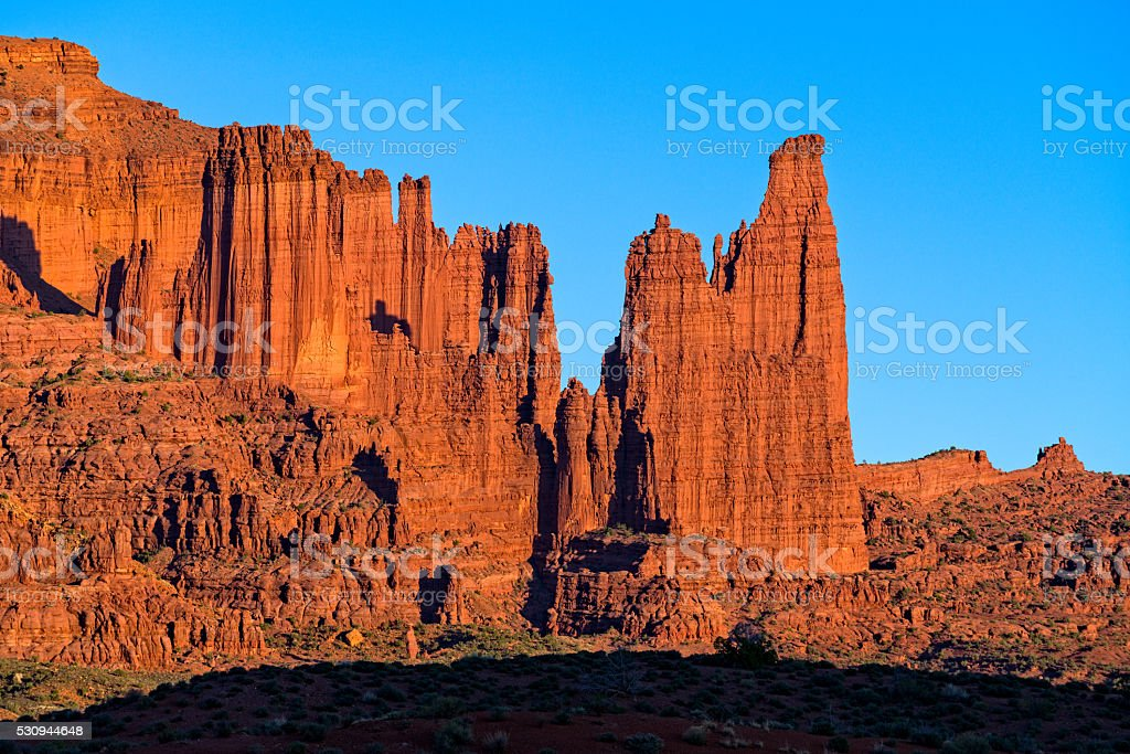 Vibrant Fisher Towers Red Rock at Sunset stock photo