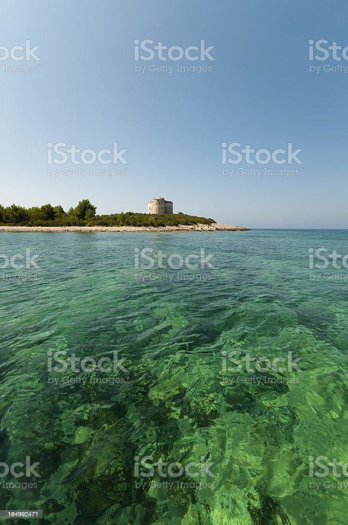 Vibrant green seawater stock photo