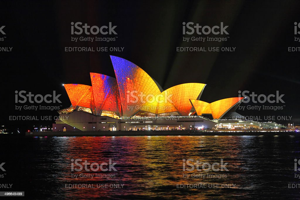 Vibrant moving colour on Sydney Opera House  during Vivid Sydney royalty-free stock photo