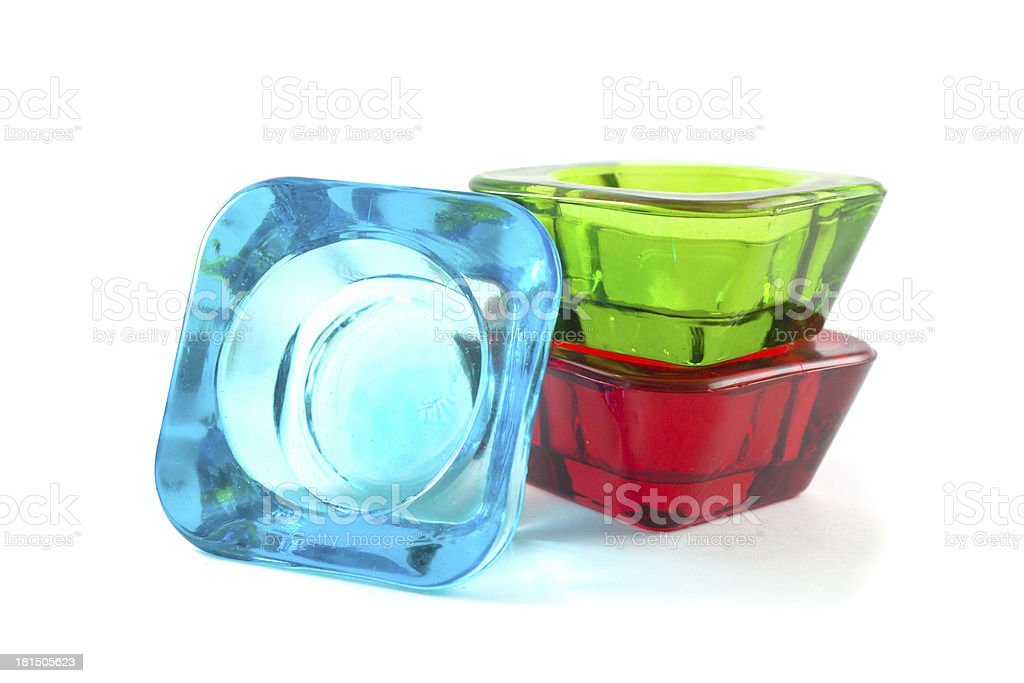 Vibrant multicolored glass candle holder royalty-free stock photo