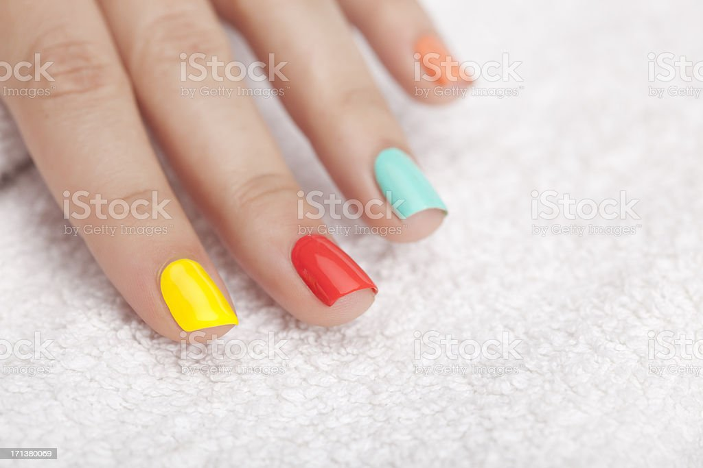 Vibrant nail polish. stock photo