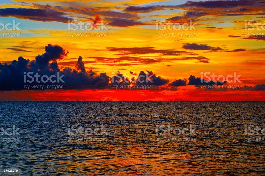 Vibrant Ocean Sunset stock photo