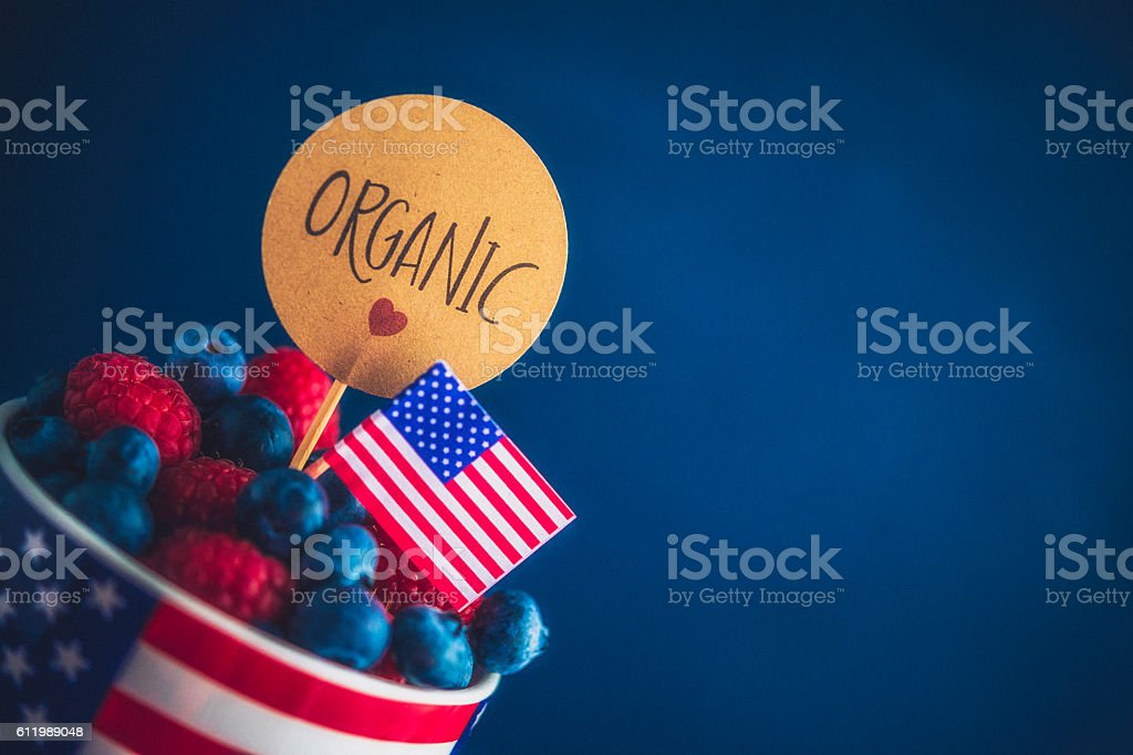 Vibrant organic raspberries and blueberries in American cup with flag stock photo