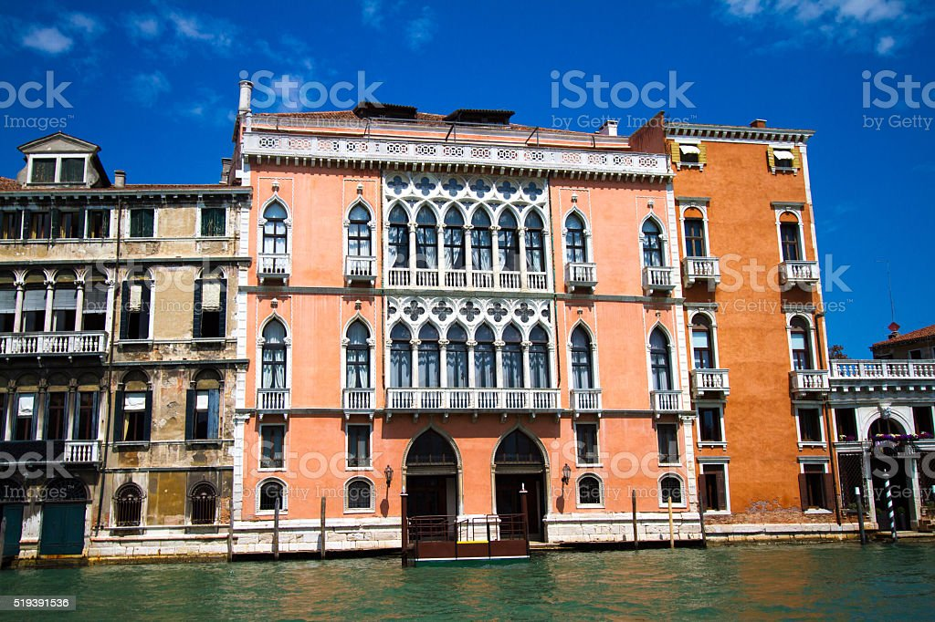 Vibrant Palazzi/Buildings on the Grand Canal in Venice, Italy stock photo
