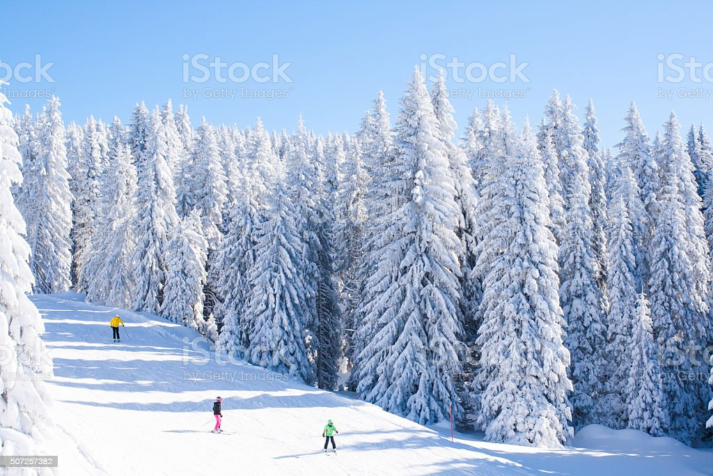 Vibrant panorama of the slope at ski resort Kopaonik, Serbia stock photo