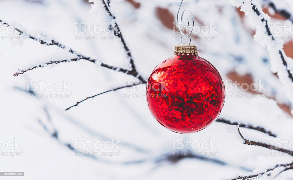 Vibrant red Christmas bauble hanging on snow covered tree outdoors stock photo