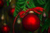 Vibrant red Christmas bauble on Christmas tree branches